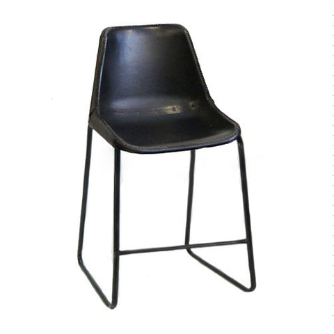 "Bowman Leather Stool 24"", Black"
