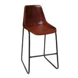 "Bowman Leather Stool 24"", Brown"