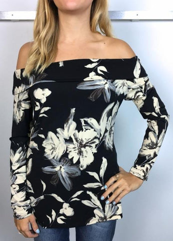 """Sady"" Off The Shoulder Long Sleeve ITY Blouse by Veronica M."