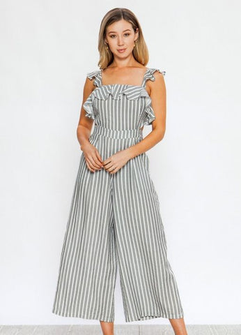 Black and White Stripe Ruffled Front Cut Out Sides Jumpsuit