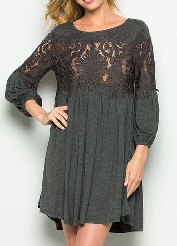 Crochet Lace Inset Long Sleeve Tunic/Mini Dress in Charcoal