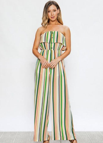 Strapless Stripe Ruffled Button-Down Jumpsuit