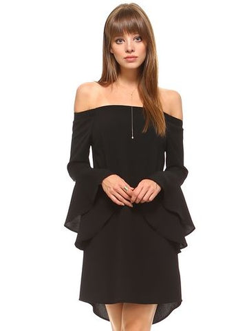 Black Off The Shoulder Shoulder Trumpet Sleeve Dress