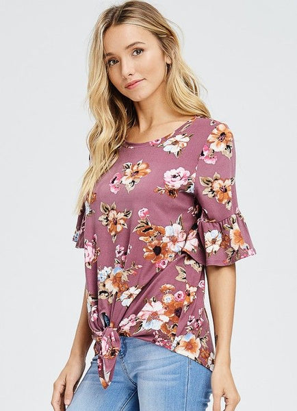 Mauve Floral Knit Ruffle Sleeve Tie Front Top
