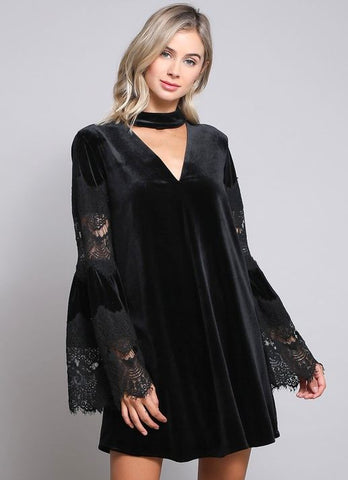 Black Velvet Keyhole Front Bell Sleeve Lace Cocktail Dress