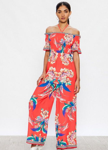 Coral Off The Shoulder Tropical Print Smocked Jumpsuit