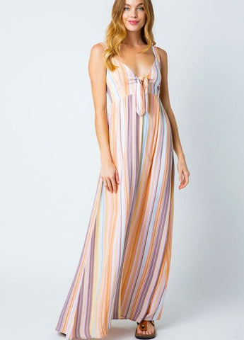 Striped Maxi Dress with Tie Front