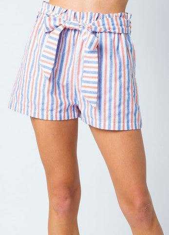 Orange/Blue and White Stripe Shorts with Bow Belt