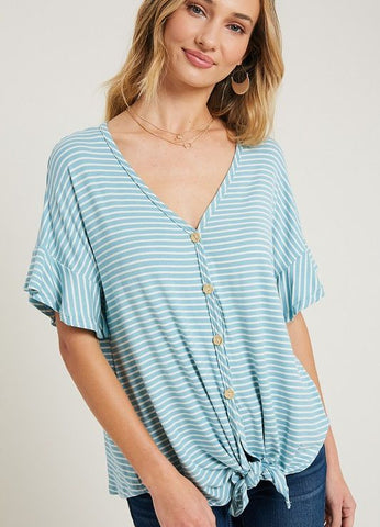 Ruffle Sleeve Tie Front Top in Blue/White Stripe