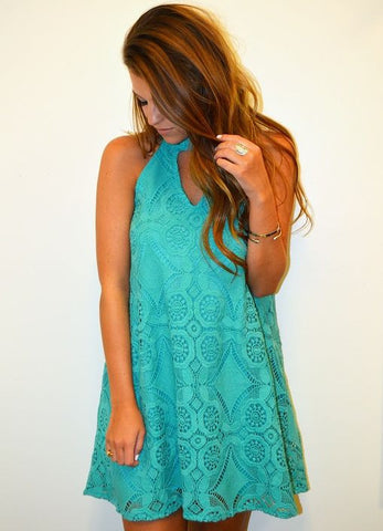 Judith March Sleeveless Swing Dress with Keyhole Front in Jade Crochet