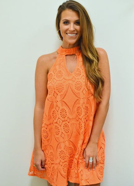 Judith March Sleeveless Swing Dress with Keyhole Front in Orange Crochet