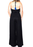 Black Halter Jumpsuit with Embroidered Ruffle Detail by Judith March