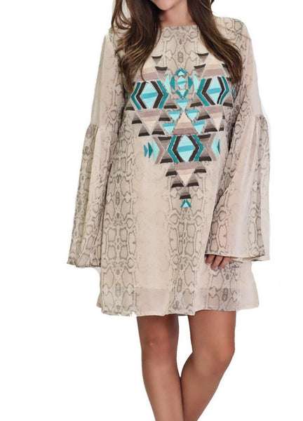 Cream Snakeskin Chiffon Dress with Embroidered Detail by Judith March