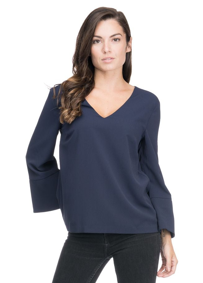 Navy Long Sleeve V-Neck Blouse with Flare Sleeves