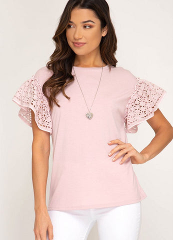 Misty Rose Top with Eyelet Sleeves