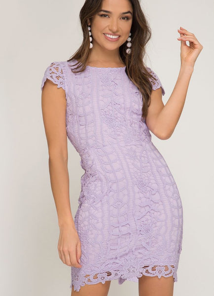 Cap Sleeve Lace Dress with Open Back in Lilac