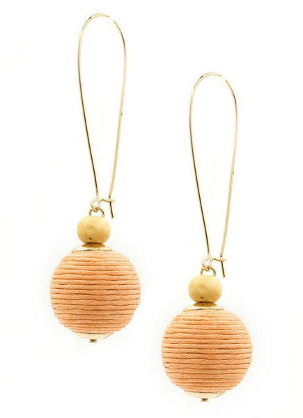 Cord Ball Earrings in Peach