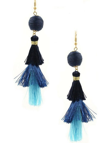 Ball and Trio Tassel Earrings in Blue Multi