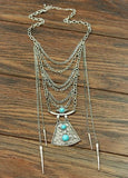 Boho Silver and Turquoise Necklace