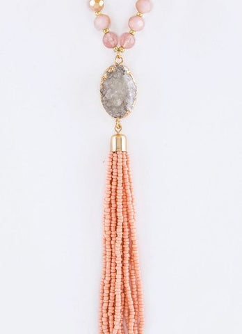 Beaded Druzy Tassel Necklace in Peach