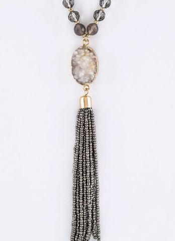 Beaded Druzy Tassel Necklace in Grey