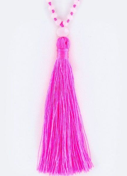 Knotted Crystal Tassel Necklace in Fuchsia
