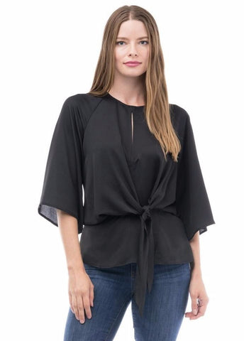 Black Knotted Detail Blouse with Slit Back