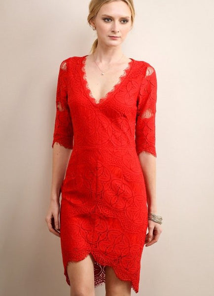 Rose Red Lace Dress with Open Back