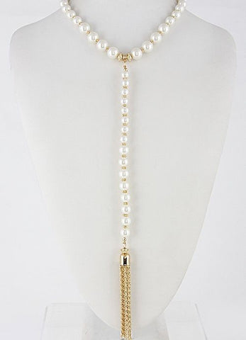 Cream Pearl Choker with Pearl and Gold Tassel Drop Necklace and Earring Set