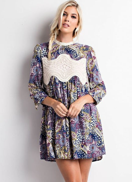 Long Sleeve (Navy Print) Crochet Front Dress