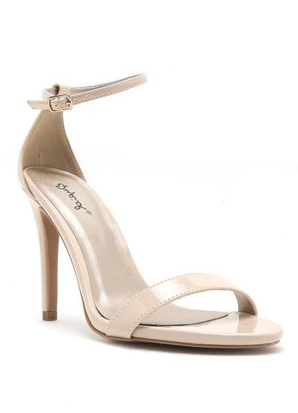 """Grammy"" Ankle Strap Heels in Nude"