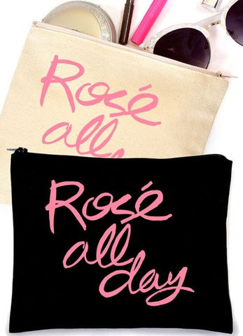 Rosé All Day Canvas Makeup Bag