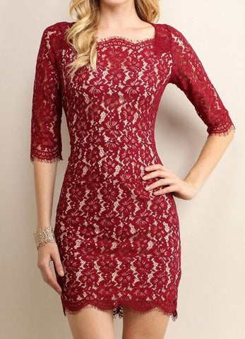 3/4 Sleeve Lace Scalloped Dress in Wine