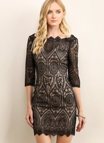 Embroidered Lace Dress with Scalloping in Black and Nude