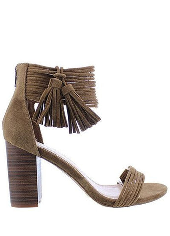 """Hunna-2"" Ankle Strap Sandle Heels in Taupe"
