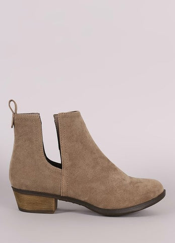 """Austin-14"" Side Cut Out Booties in Beige"