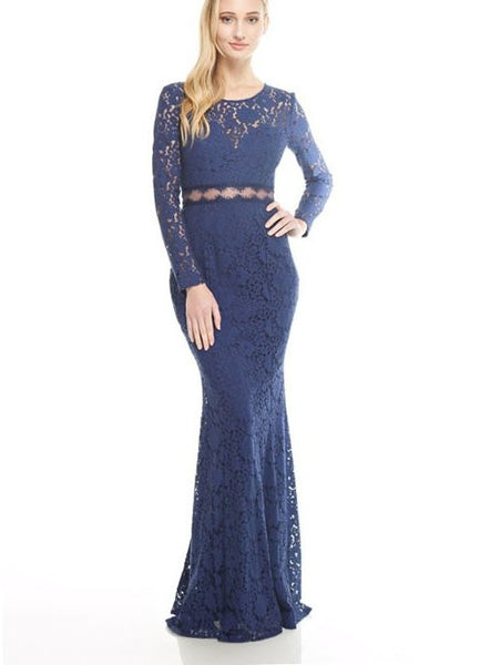 Long Sleeve Lace Gown with Exposed Middle in Navy