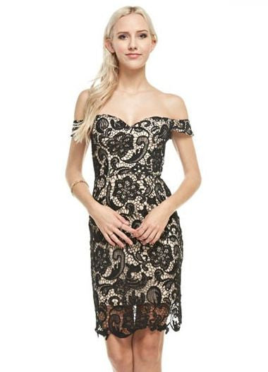 Black Off The Shoulder Lace Dress with Nude Lining