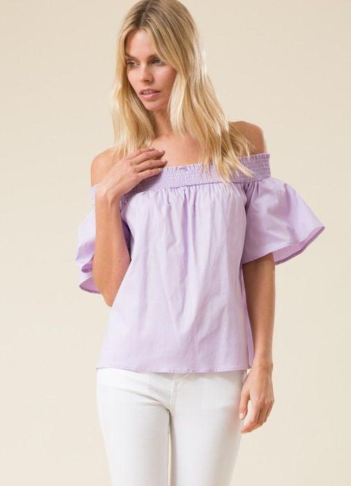 Lavender Off The Shoulder Smocked Short Sleeve Top
