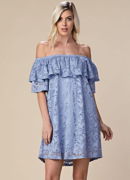 Blue Lace Off The Shoulder Dress