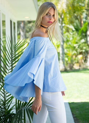 Blue Off The Shoulder Long Cascading Bell Sleeve Top