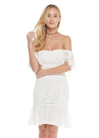 Off The Shoulder Lace Dress in Ivory with Flair Skirt