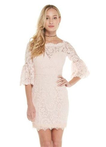 Blush 3/4 Bell Sleeve Lace Dress