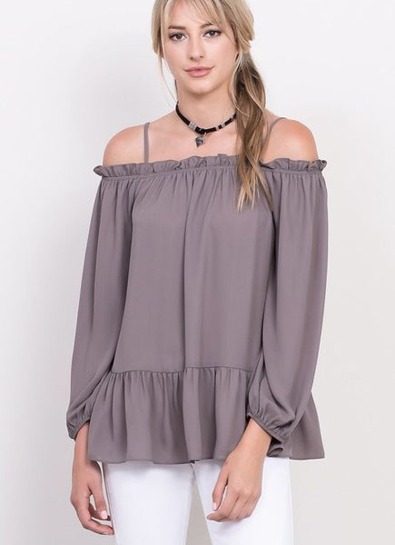 Off-The-Shoulder Top with Straps in Charcoal