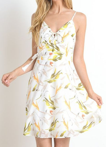 Lace Up Front Tropical Print Spaghetti Strap Dress