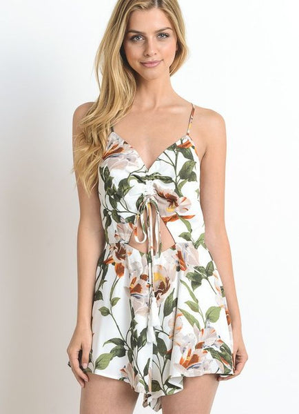 Off White Hibiscus Print Romper with Cinched Keyhole Middle