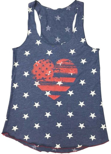 'Heart Flag and Stars' Racerback Tank in Navy