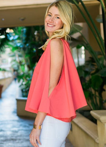 Cold Shoulder Kimono Slit Sleeve Top in Coral