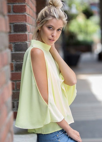 Cold Shoulder Kimono Slit Sleeve Top in Light Yellow