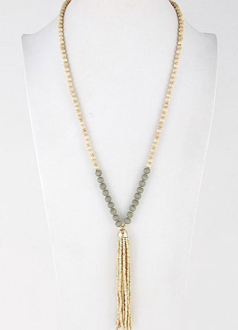 Beaded Tassel Necklace in Gold and Ivory